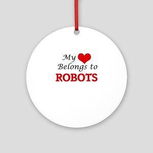 My heart belongs to Robots Round Ornament
