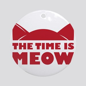 Time Is Meow Round Ornament