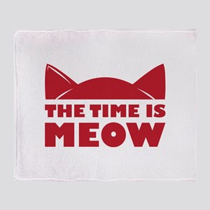Time Is Meow Throw Blanket