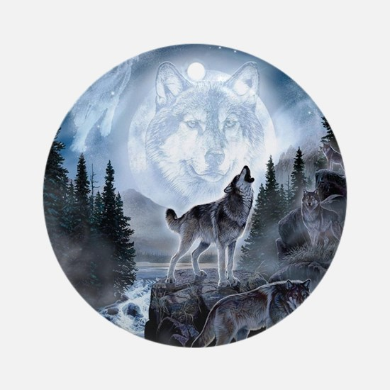 spirt of the wolf Round Ornament