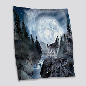 spirt of the wolf Burlap Throw Pillow