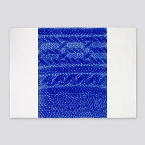 WOOL blue cables 5'x7'Area Rug