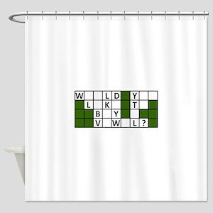 buy_a_vowel_dark Shower Curtain