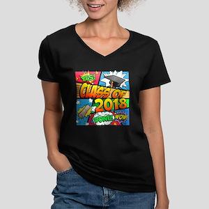 Class of 2018 Comic Bo Women's V-Neck Dark T-Shirt