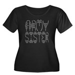 Army Sister Women's Plus Size Scoop Neck Dark T-S