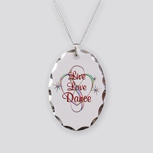 Live Love Dance Necklace Oval Charm