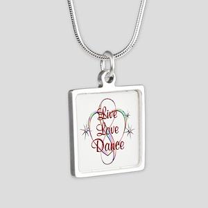 Live Love Dance Silver Square Necklace