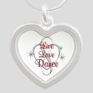 Live Love Dance Silver Heart Necklace