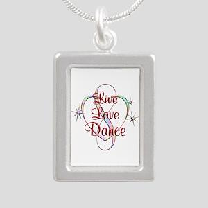 Live Love Dance Silver Portrait Necklace