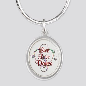 Live Love Dance Silver Oval Necklace