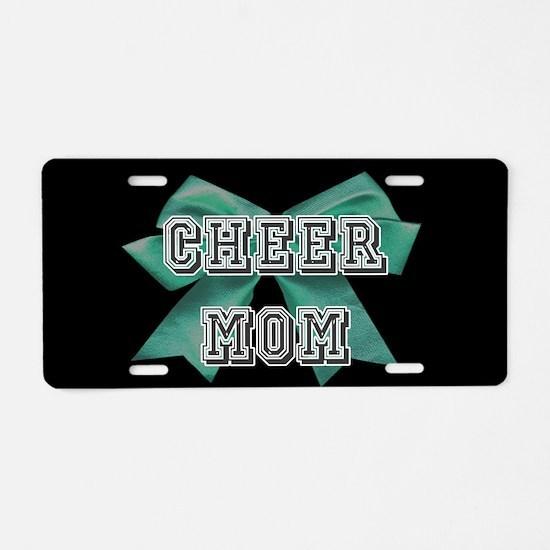 Green Cheer Mom Aluminum License Plate