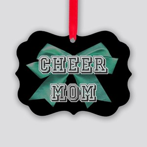 Green Cheer Mom Picture Ornament