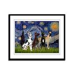 Starry / 4 Great Danes Framed Panel Print
