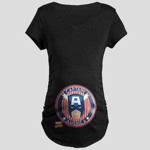 Captain America Stamp Maternity Dark T-Shirt