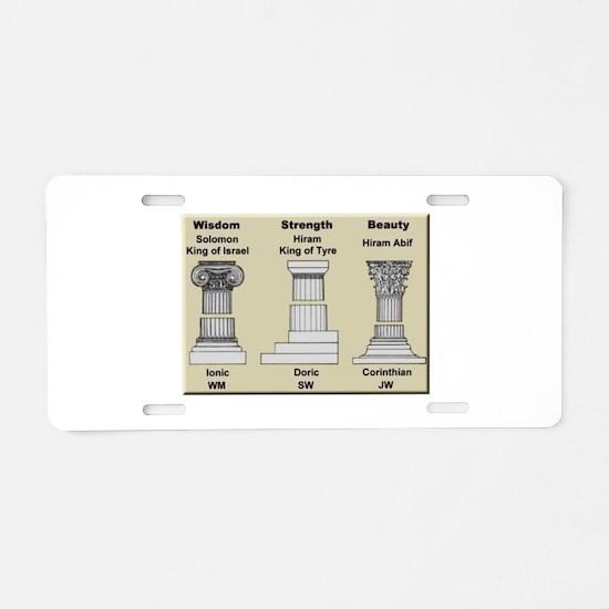 Masonic Pillars Aluminum License Plate