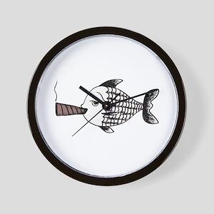 Smoking Fish Wall Clock