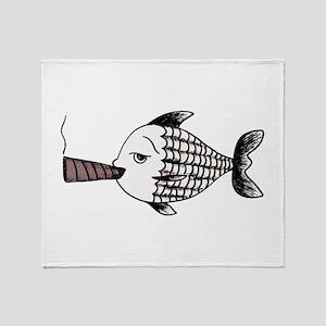 Smoking Fish Throw Blanket