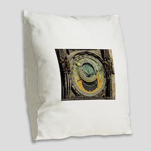 Prague Astronomical Clock Towe Burlap Throw Pillow