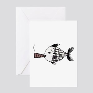 Smoking Fish Greeting Cards
