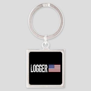 Logger: Logger & American Flag Square Keychain