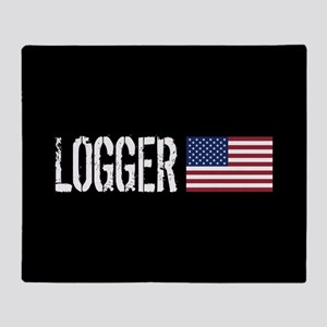 Logger: Logger & American Flag Throw Blanket