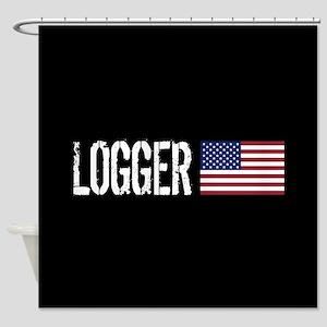 Logger: Logger & American Flag Shower Curtain