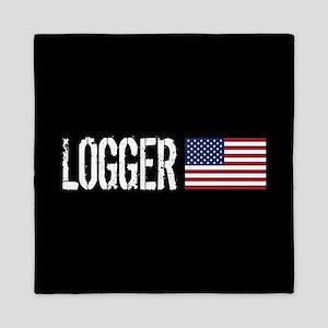 Logger: Logger & American Flag Queen Duvet