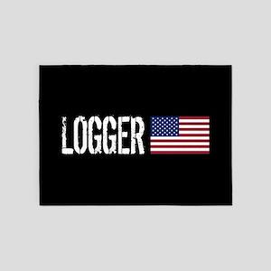 Logger: Logger & American Flag 5'x7'Area Rug