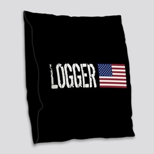 Logger: Logger & American Flag Burlap Throw Pillow