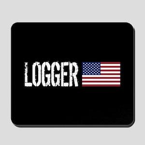 Logger: Logger & American Flag Mousepad