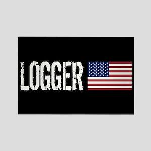 Logger: Logger & American Flag Rectangle Magnet