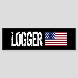 Logger: Logger & American Flag Sticker (Bumper)