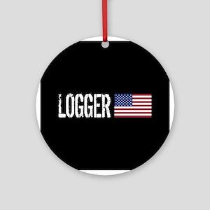 Logger: Logger & American Flag Round Ornament