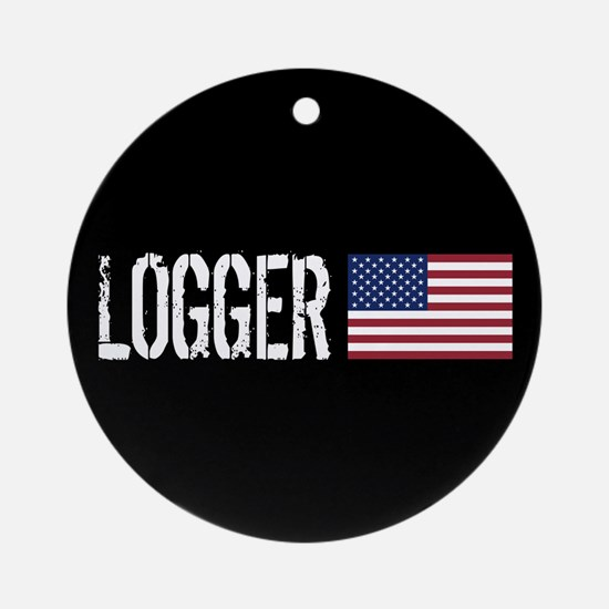 Logger: Logger & American Flag Round Ornament