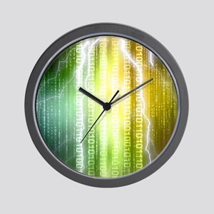 Binary Rain Lightning Wall Clock