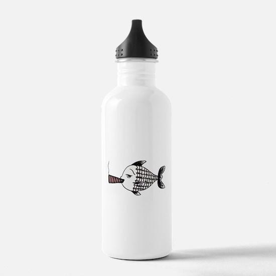 Smoking Fish Water Bottle