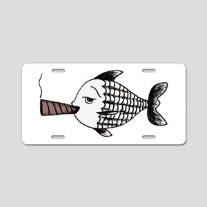 Smoking Fish Aluminum License Plate