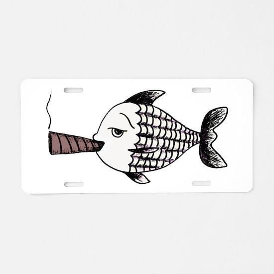 Smoking Fish Aluminum License Plate