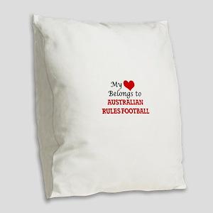 My heart belongs to Australian Burlap Throw Pillow