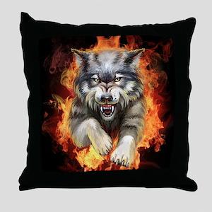 Fire Wolf Throw Pillow