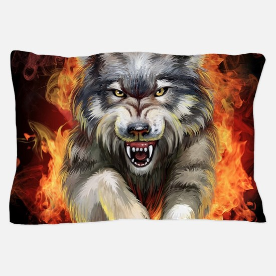 Fire Wolf Pillow Case