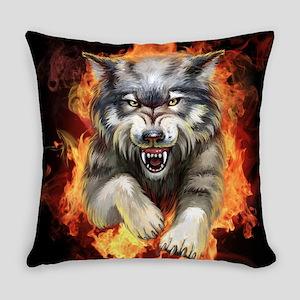 Fire Wolf Everyday Pillow