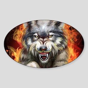 Fire Wolf Sticker (Oval)