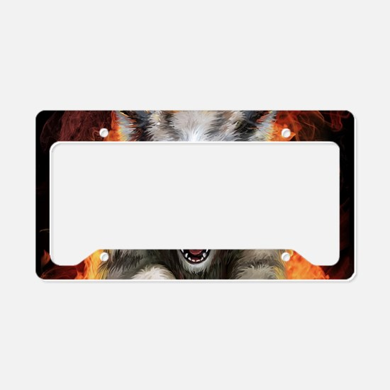Fire Wolf License Plate Holder
