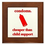 Condoms, cheaper than child s Framed Tile
