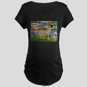 Lilies / Gr Dane (f) Maternity Dark T-Shirt