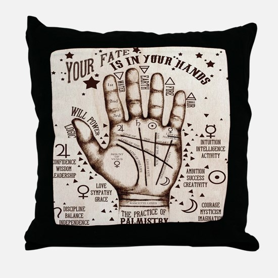 Vintage Palmistry Throw Pillow