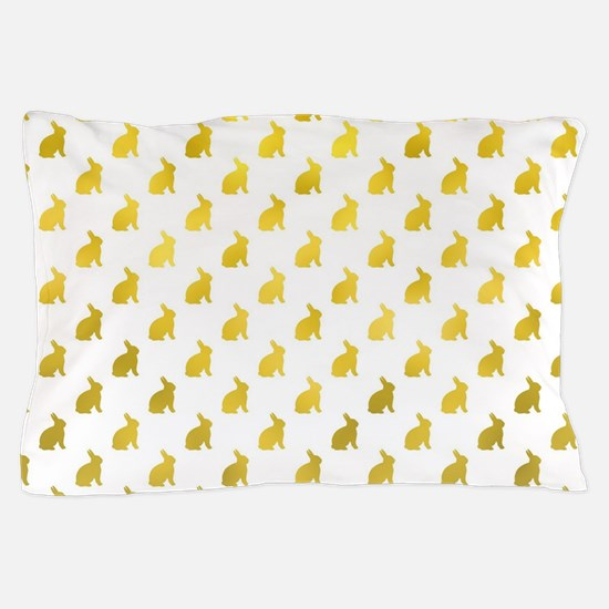 Gold Bunny Faux Foil Background Bunnie Pillow Case