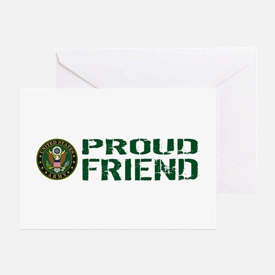 U.S. Army: Proud Friend (Green & Whi Greeting Card