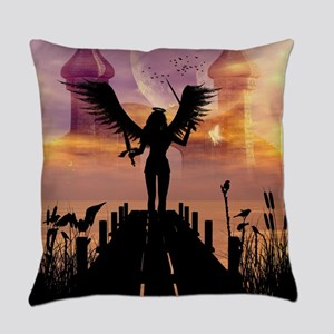 Angele on a jetty Everyday Pillow